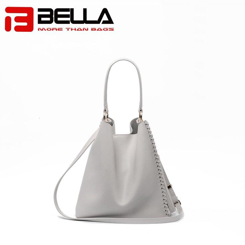 Leather Tote Bag with Metal Zipper and Tassel Decoration 6008A