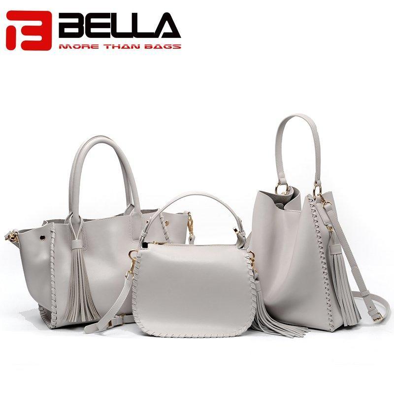 Ladies Leather Shoulder Bag with Metal Snap Hook & Tassel 6008B