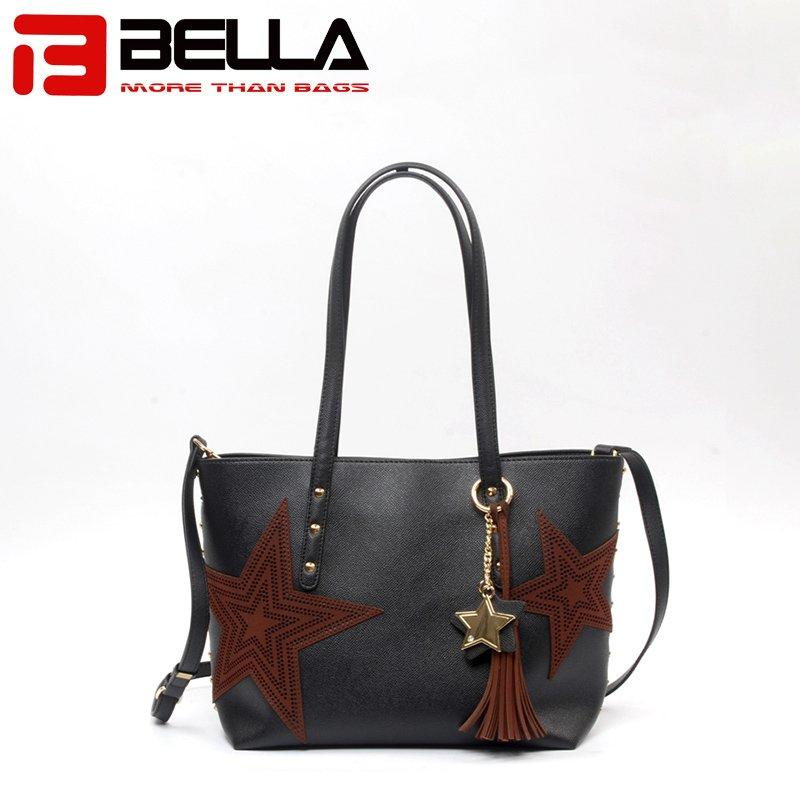 PU Handbag With Metal Zipper and Stars Decoration 6009B