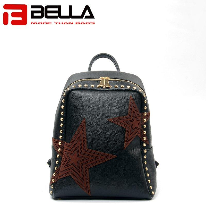 Black PU Leather Backpack with Star Decoration for Women 6009C