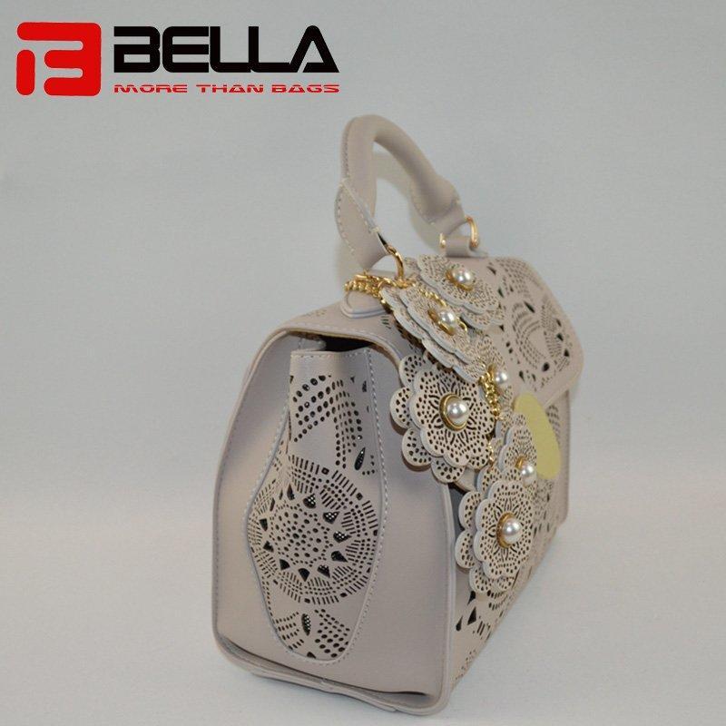 Lase Style PU Handbag with Detachble Flowers Decoration 6019C