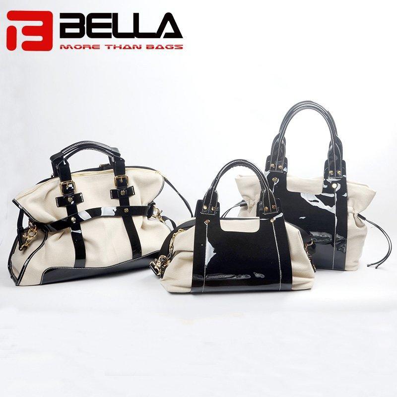 Designer PU and Canvas Handbag with Contrast Color 6034A