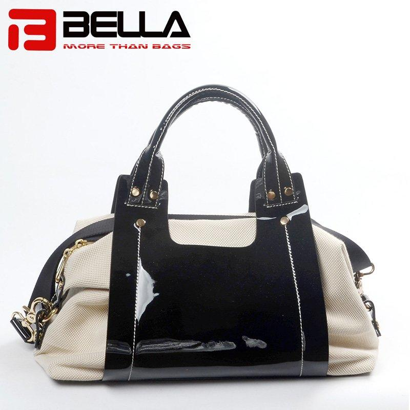 Fashional PU and Canvas Handbag with Contrast Colors 6034C