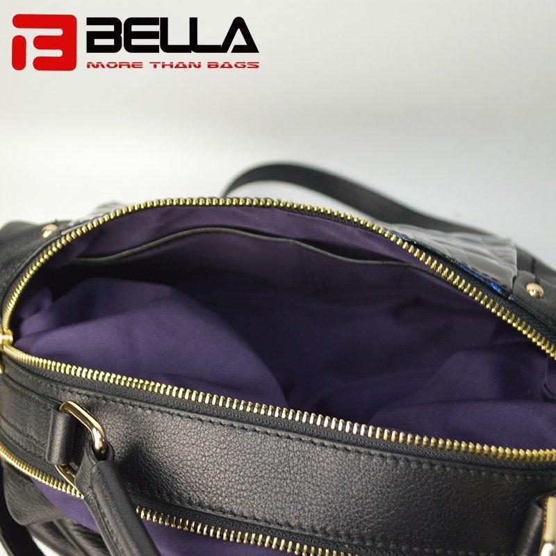 Flash Blue Ladies Leather Handbag with Metal Zipper 6035A