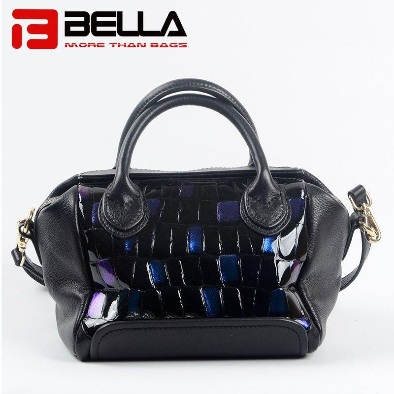 Leather Handbag with Fashion Blue Flash Color & Metal Zipper 6035B
