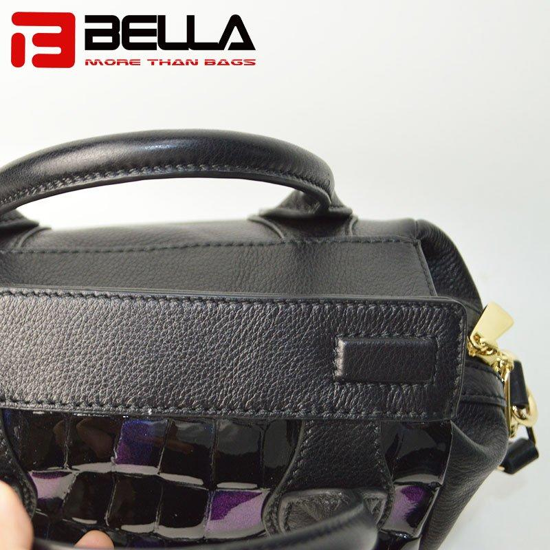 Leather Handbag with Fashion Blue Flash Color & Metal Zipper 6035B