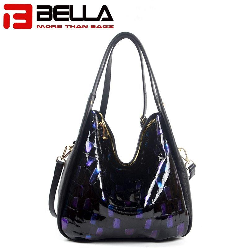 Hot Sale Leather Handbag with Fashion Blue Flash Color 6035C