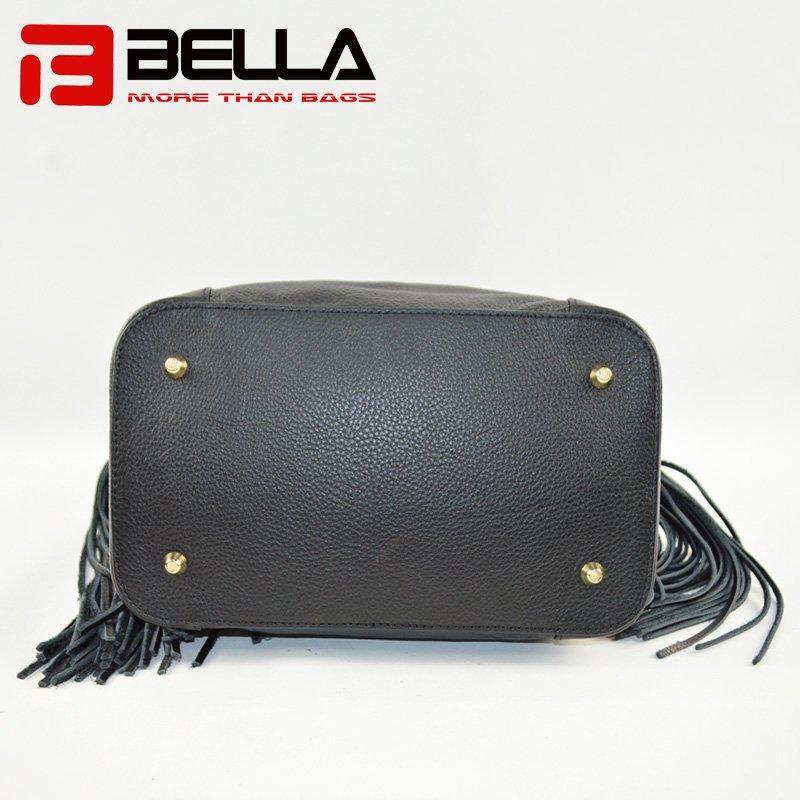 Black Leather Handbag with Big Tassels Decoration & Metal Snap Hook 6014A