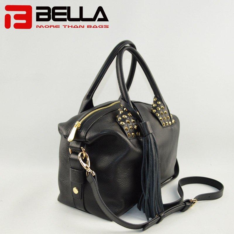 Black Leather Handbag with Big Tassels Decoration 6014B