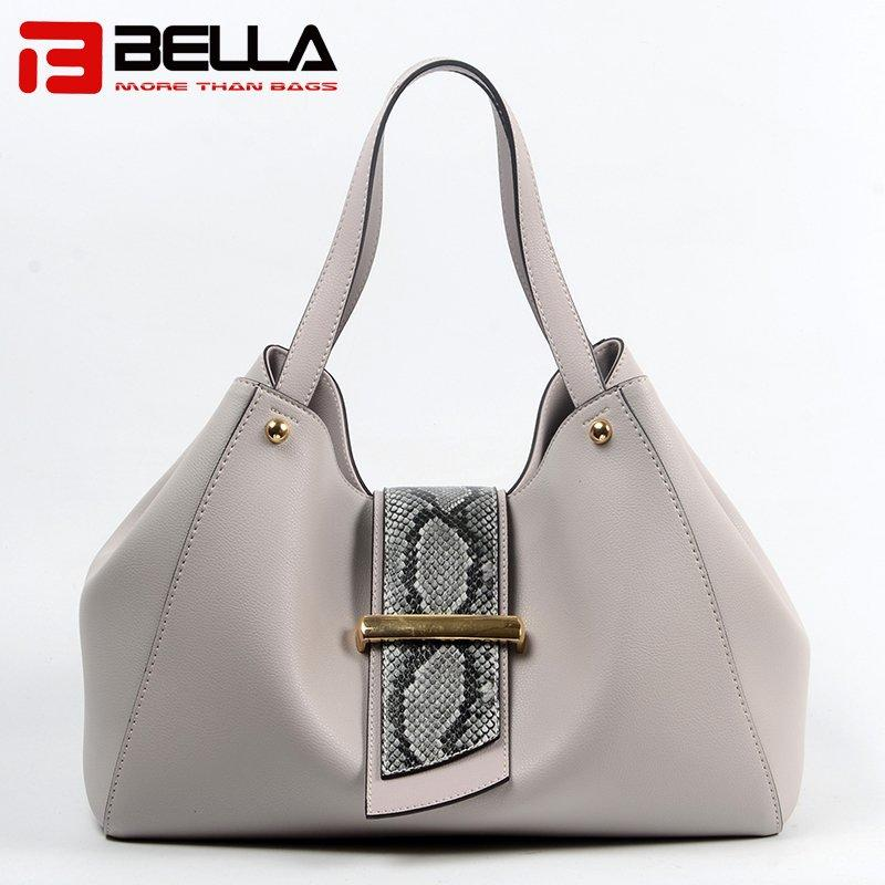 Cream Leather Handbag with Snake Pattern Part Decoration 6033A