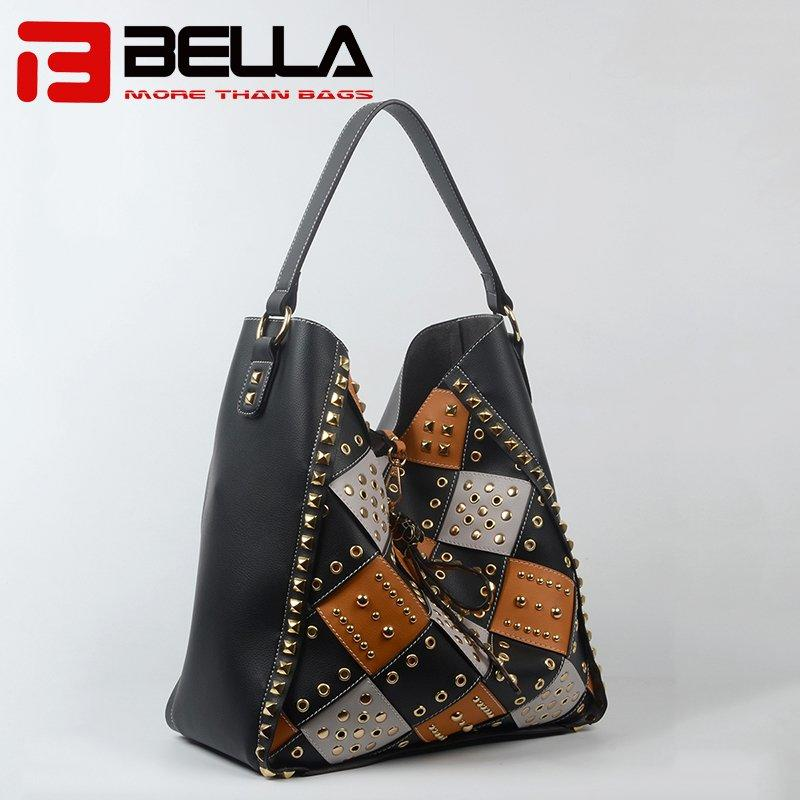 Short Single Strap Leather Handbag with Metal Embroidery 201712-4B