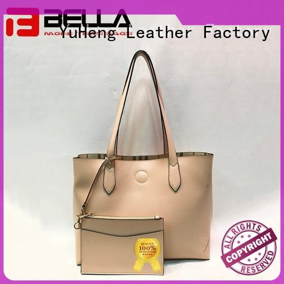 grain leather shoulder bag colorful purple BELLA company