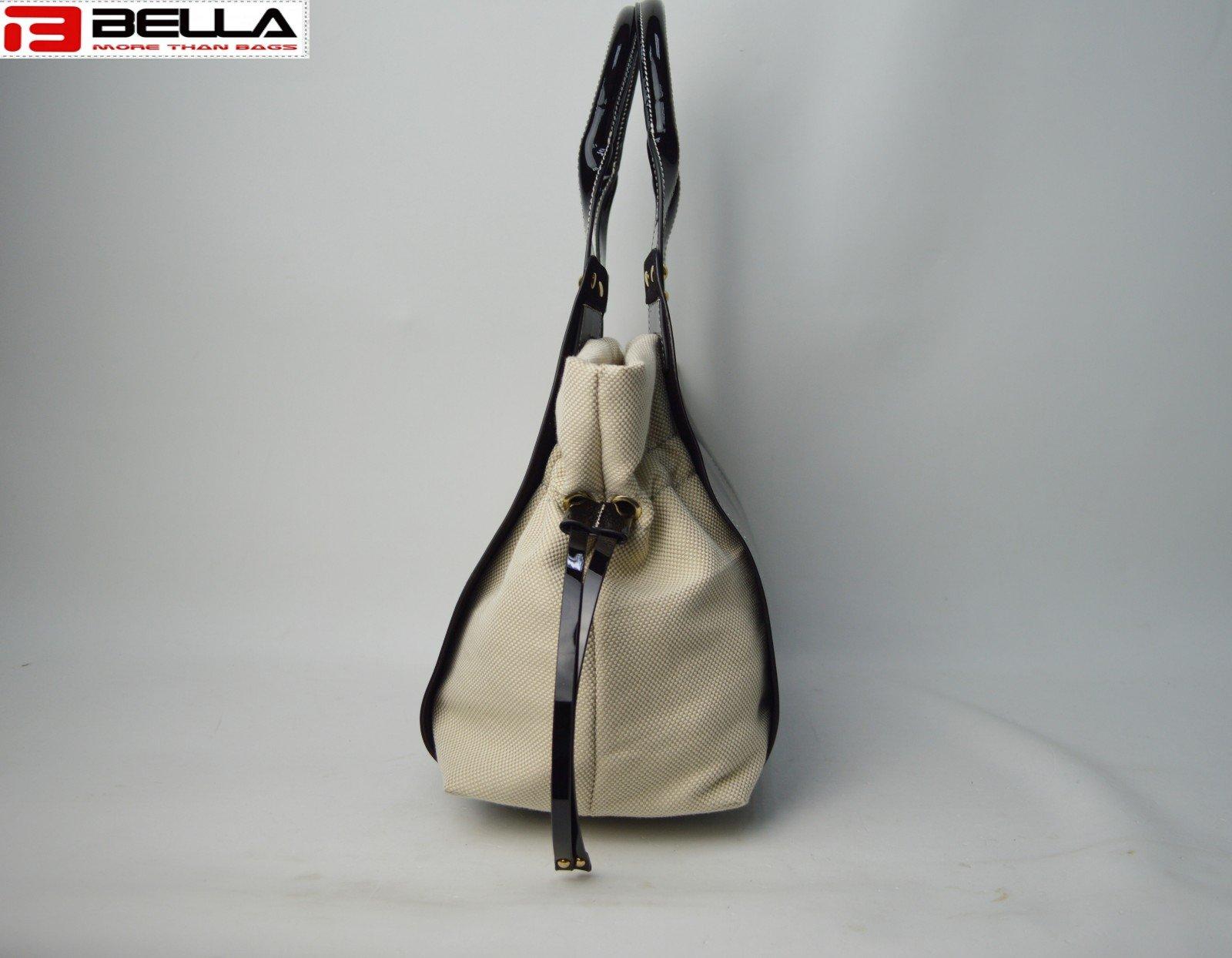 BELLA-Designer Pu And Canvas Handbag With Contrast Color 6034a-bella-8