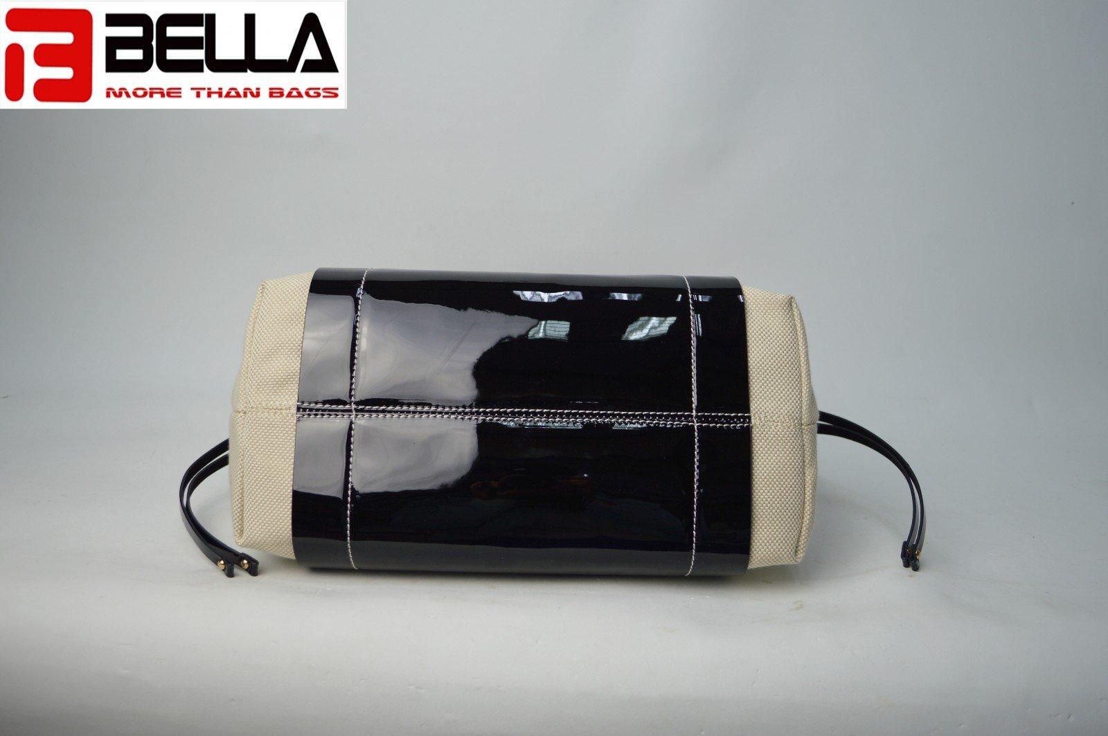 BELLA-Designer Pu And Canvas Handbag With Contrast Color 6034a-bella-9