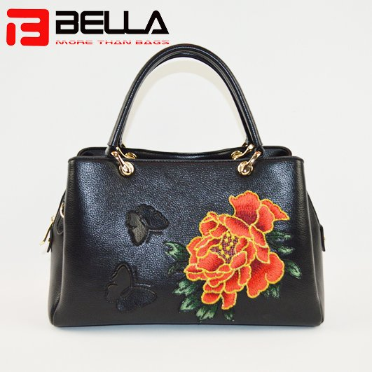 BELLA-Black Faux Leather Satchel Bag With Flower Embroidery,group Handbags-bella-6