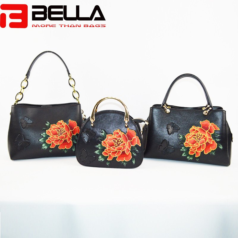 BELLA-Black Faux Leather Satchel Bag With Flower Embroidery,group Handbags-bella-10