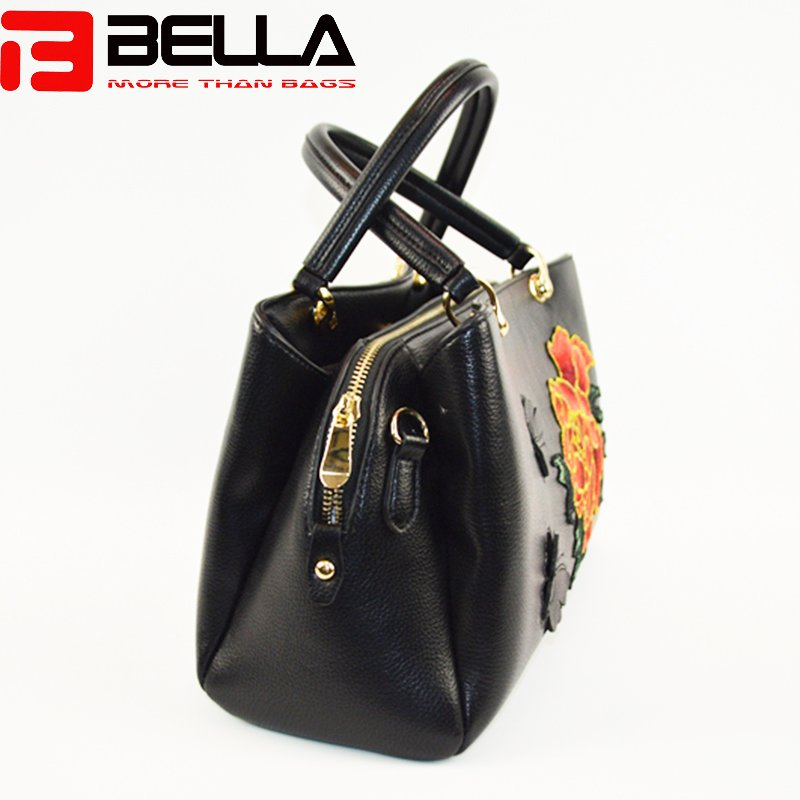 BELLA-Black Faux Leather Satchel Bag With Flower Embroidery,group Handbags-bella-11