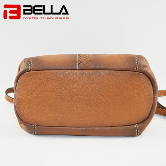 BELLA-High-quality Genuine Cow Leather Camel Color Retro Leather Shoulder-8