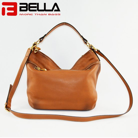 BELLA-High-quality Genuine Cow Leather Camel Color Retro Leather Shoulder-7