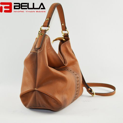 BELLA-High-quality Genuine Cow Leather Camel Color Retro Leather Shoulder-10