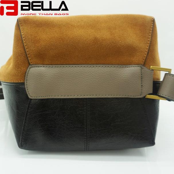 BELLA-Women Suede Leather Shoulder Bag Contrast Color Handbag Guangzhou China Handbag Factory Hm193-8