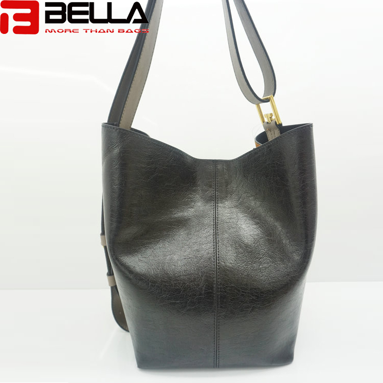 BELLA-Women Suede Leather Shoulder Bag Contrast Color Handbag Guangzhou China Handbag Factory Hm193-7
