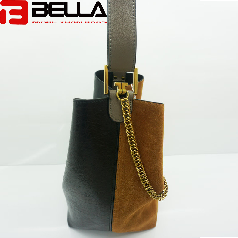 BELLA-Women Suede Leather Shoulder Bag Contrast Color Handbag Guangzhou China Handbag Factory Hm193-9
