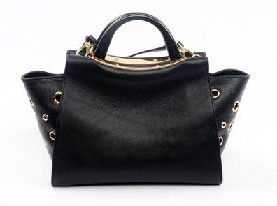 hot sale genuine leather handbag with  special metal ring design decoration