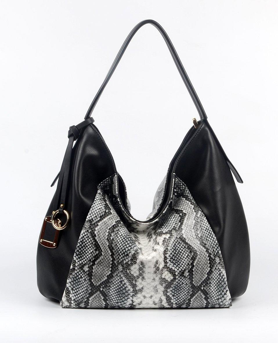 Black PU handbag with Snake pattern, Part decoration 6018A