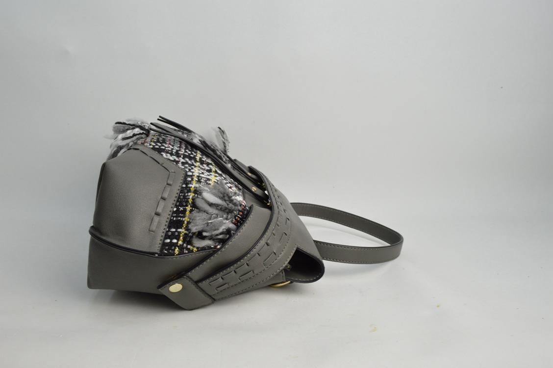 Deep Grey handbag with canvas 6032A