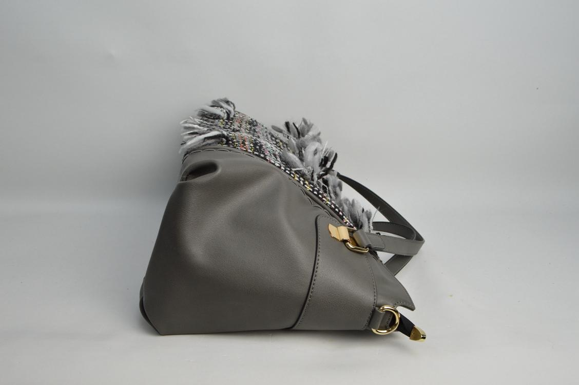 Deep Grey handbag with canvas tessels 6032B