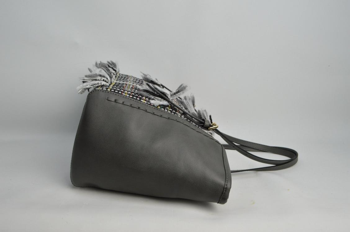 Deep grey shoulder bags with tassels 6032C
