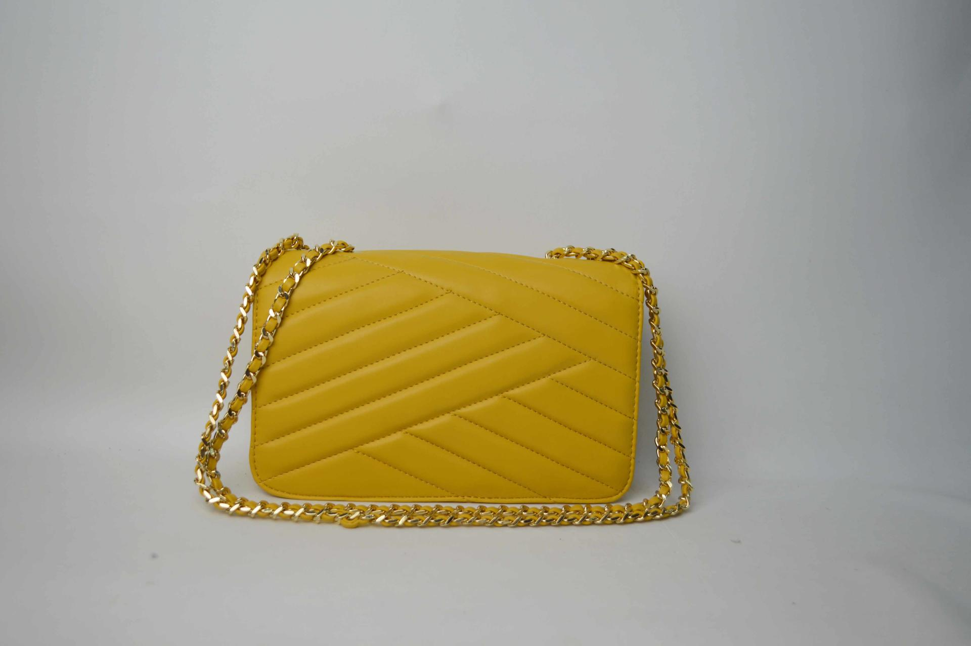 Yellow handbag with a special chain BE-4770
