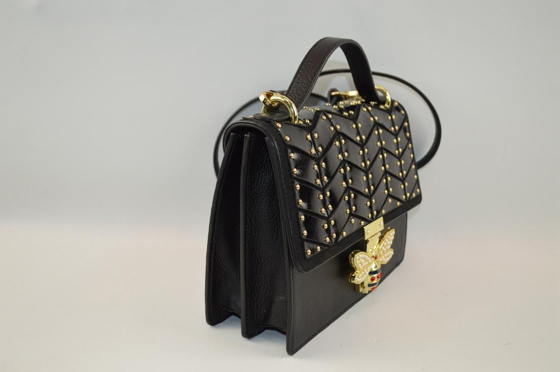 special design leather crossbody bag with  butterfly decoration