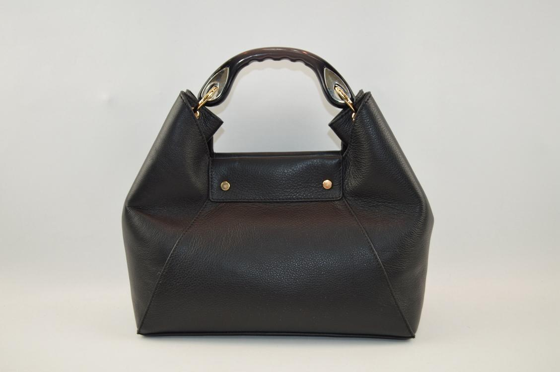 hot sale genuine leather handbag with good quality metal rings