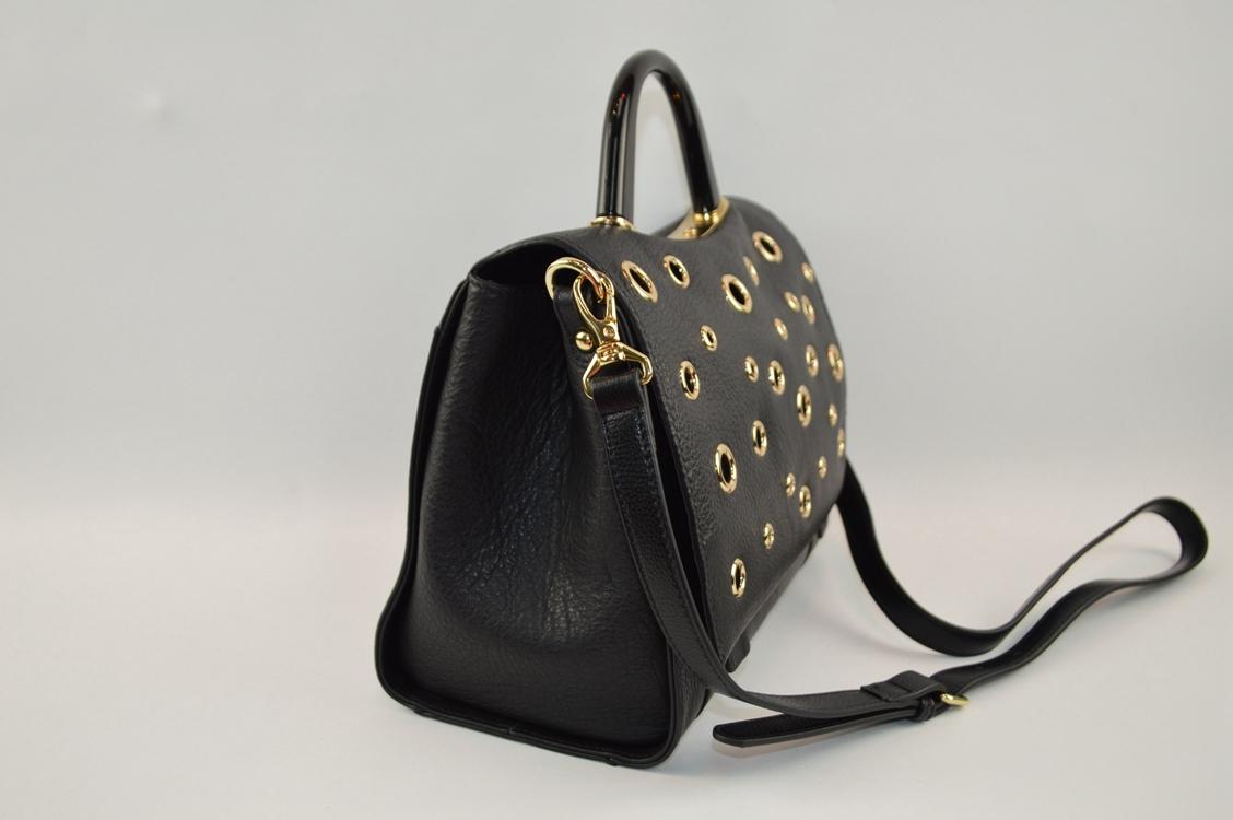 Fashion design genuine leather crossbody bag with good quality metal rings
