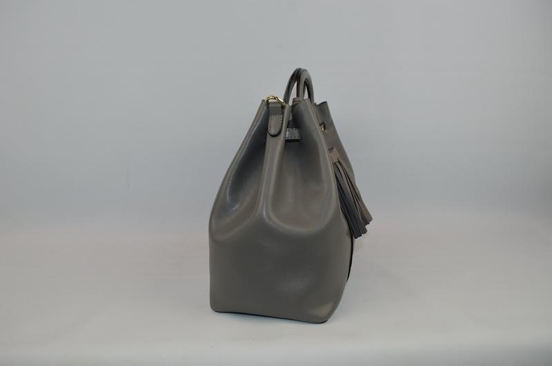 Deep grey handbag with crocodile skin 1003