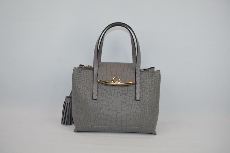 Deep Grey handbag with crocodile skin 7011