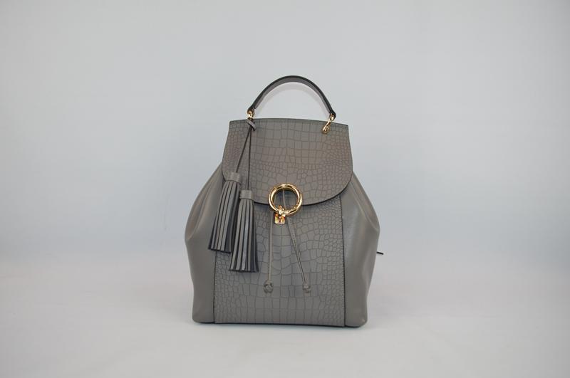 Deep grey backpack with crocodile skin 8847