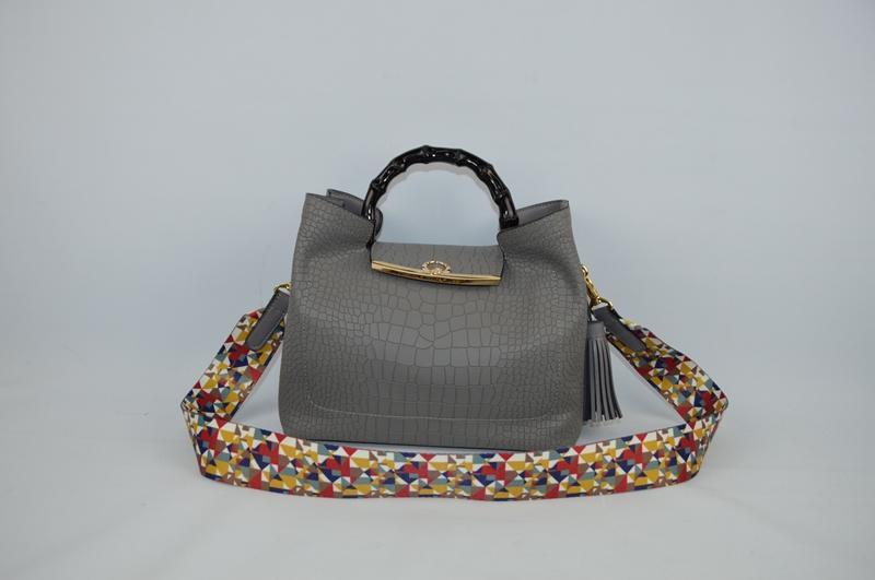 Deep grey handbag with crocodile skin 9003