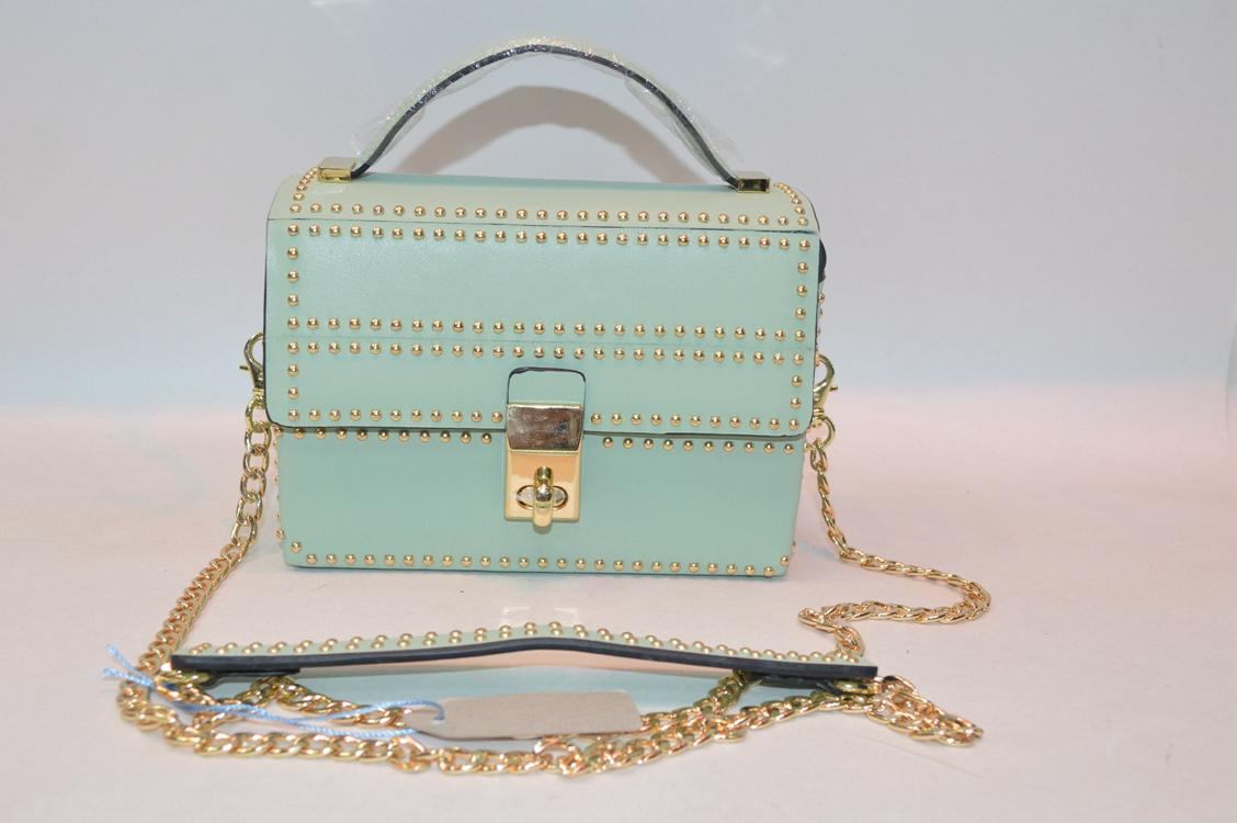 Light green small leather handbag BE-4454