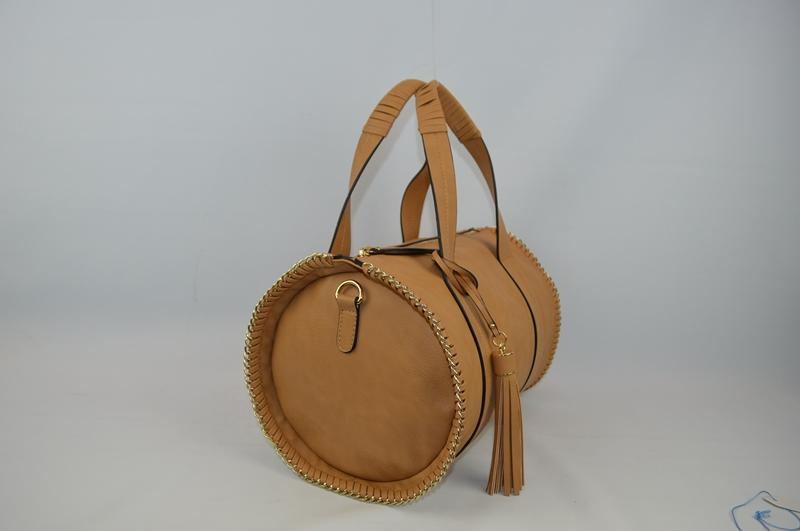 Light brown rounded PU handbag BE-4569