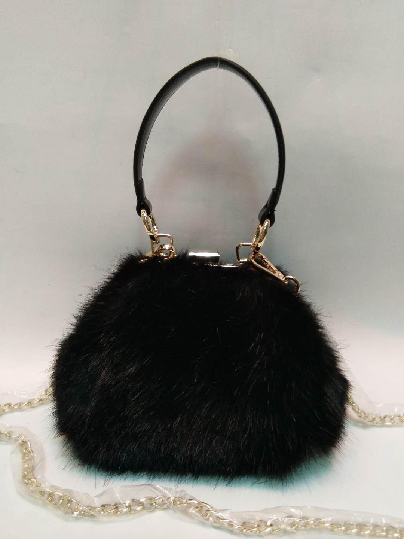 Black mink hair PU handbag 20180101