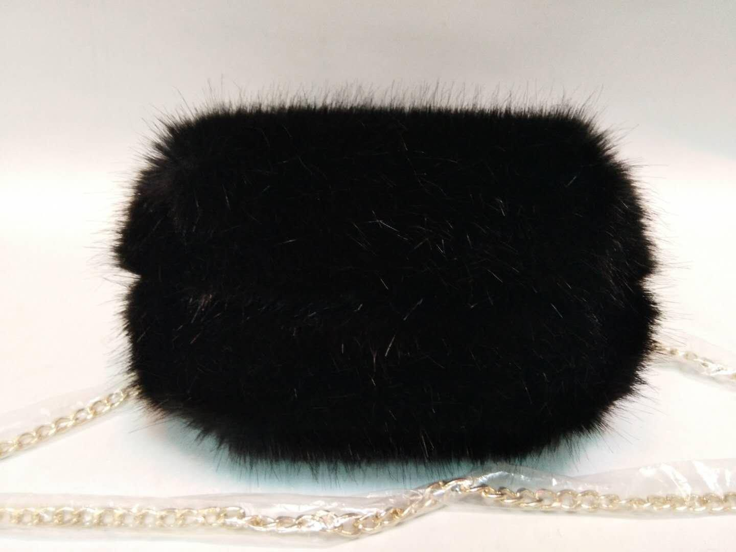 Black mink hair PU handbag 20180101