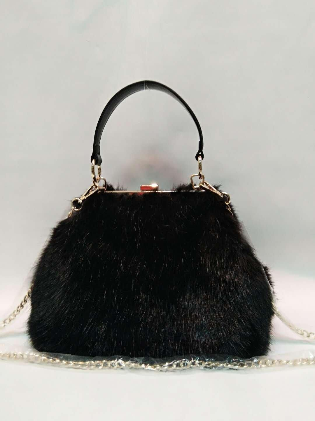 Black mink hair PU handbag 20180102