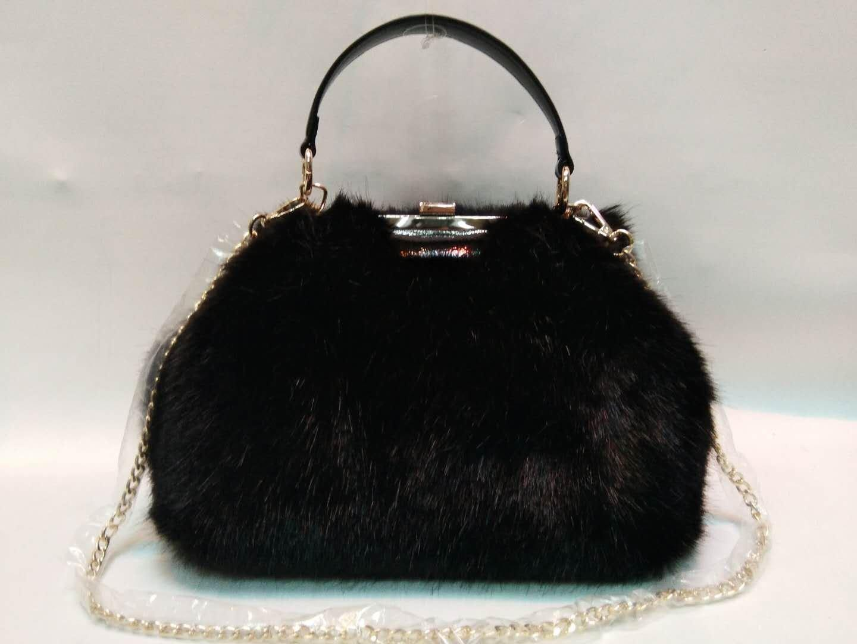 Black mink hair PU handbag 20180103