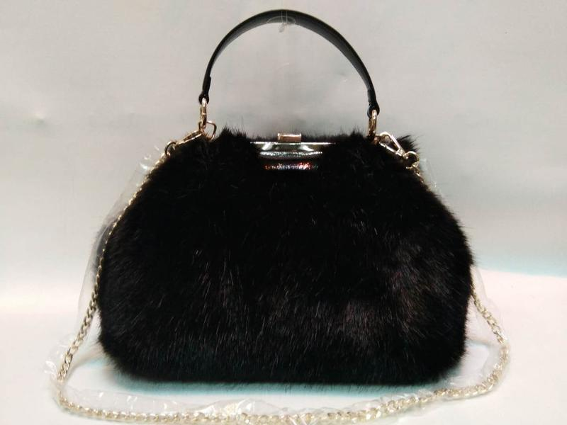 Black mink hair PU handbag 20180103