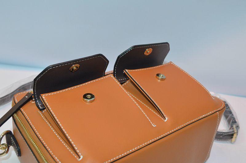 Brown leather handbag BE-4536