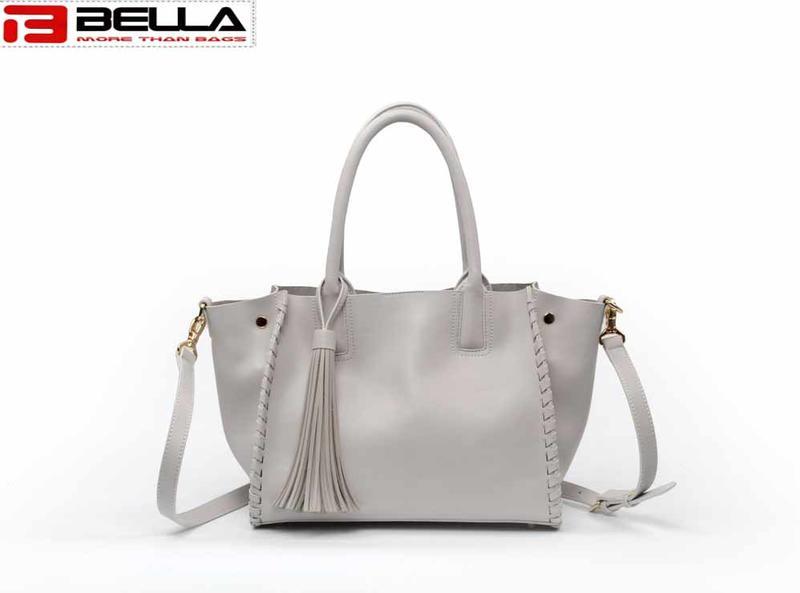 Cream Color Women Leather Shoulder Bag with Tassel 6008C