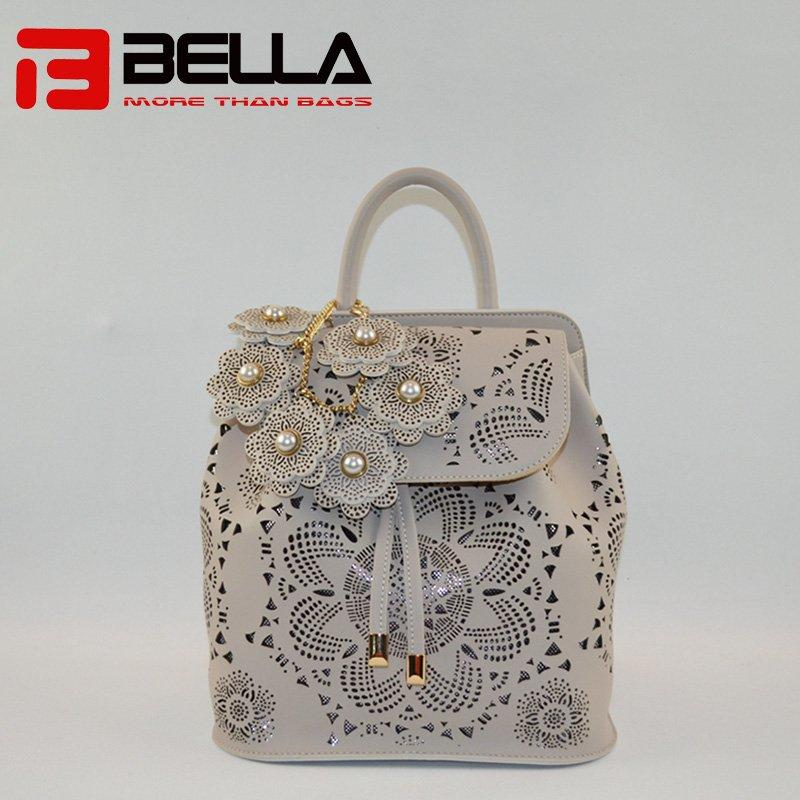 PU Leather Backpack With Detachble Flowers Decoration 6019A